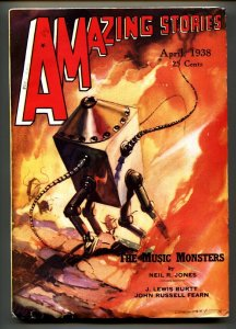 AMAZING STORIES 1938 Apr-Robot cover-High Grade Pulp Magazine