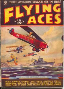 Flying Ace  4/1935-Philp Strange-hero pulp-Donald E Keyhoe-Mayshark-VG/FN