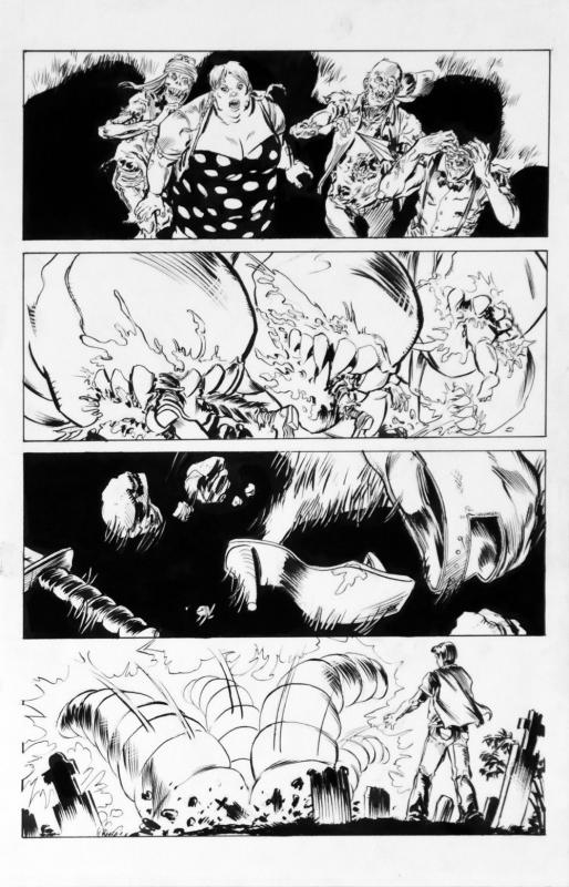 DEAN KOTZ Original Published Art, TRAILER PARK of TERROR #6 page 30, Zombies