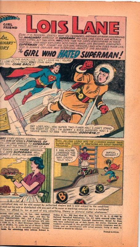 Superman's Girlfriend Lois Lane #39 (Feb-63) VG Affordable-Grade Superman, Lo...