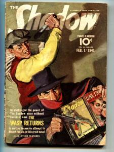 SHADOW 1941 feb 1-Newsstand cover- STREET AND SMITH-RARE PULP vg