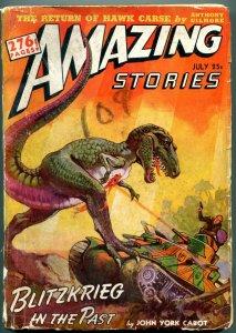 Amazing Stories Pulp July 1942- dinosaur v tank cover- Space Patrol G/VG