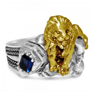 Artisan made New York 42 street 10 Karat Gold lion sterling silver ring
