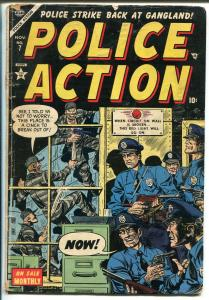 Police Action #7 1954-Atlas-final issue-crime-gunfights-Bob Powell-violence-VG