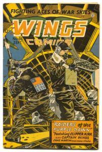 Wings #61 1945- Fiction House- Bomber gunner cover VG-
