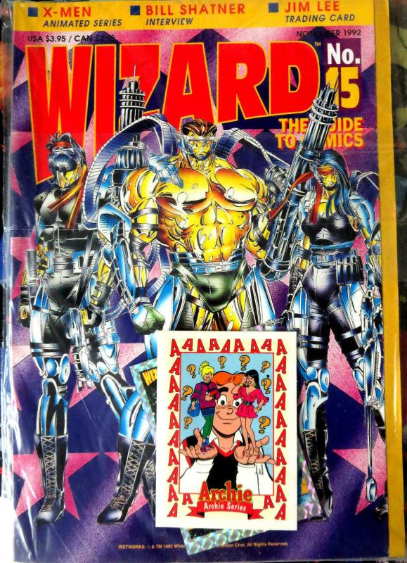 WIZARD Magazine No. 15, November 1992 POLYBAGGED w/Wildcats card + poster VFNM