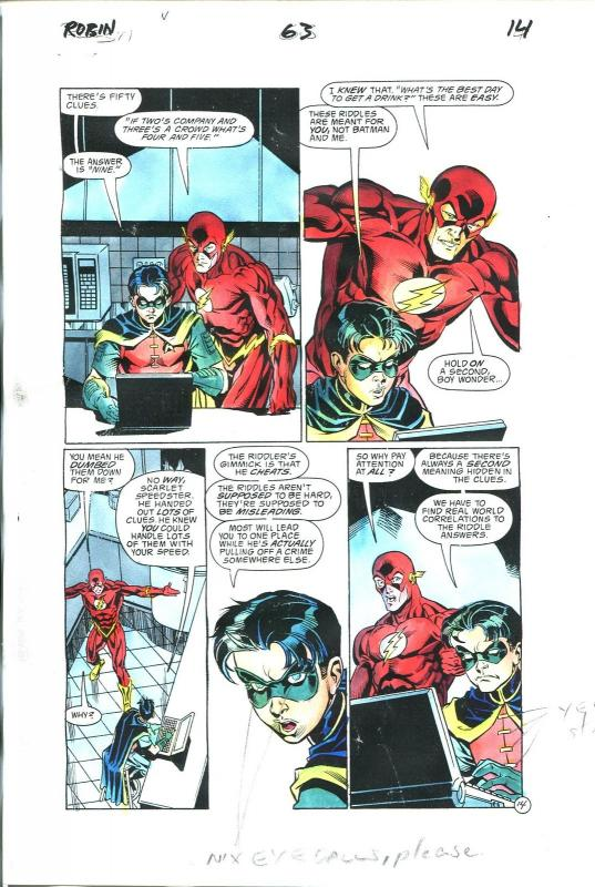 Robin Comics #63 Page 14 Hand Painted Cover Color Guide-comic book art-Flash-VG