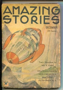 Amazing Stories 12/1933-Teck-Rocket cover-Pulp stories by Staton A. Coblentz-...