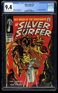 Silver Surfer #3 CGC NM 9.4 Off White to White 1st Mephisto! Marvel Comics