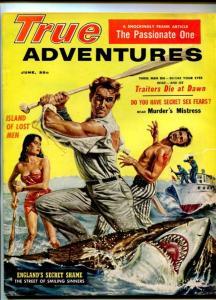 TRUE ADVENTURES-AUG-1959-PULP FICTION-DOUG ROSA-SAUNDERS-SHARK ATTACK-fn+