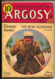 Argosy 11/11/1937-Munsey-Foreign Legion cover-Adventure &mystery pulp fiction...