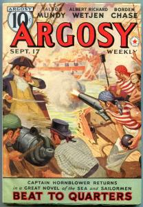 Argosy Pulp Sept 17 1938- Captain Hornblower Beat to Quarters- CS Forester VF