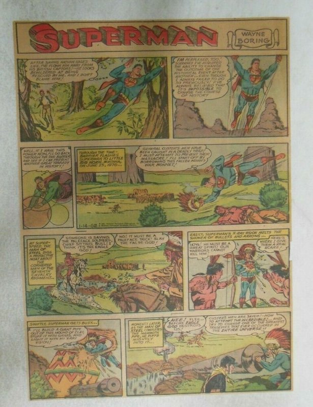 Superman Sunday Page #1166 by Wayne Boring from 1/14/1962 Size ~11 x 15 inches