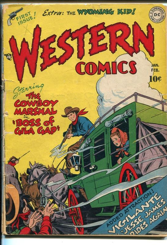 WESTERN #1 1948-DC-1ST ISSUE-1ST WYOMING KID COWBOY MARSHAL-JESSE JAMES-good