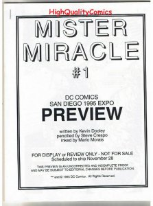 MISTER MIRACLE #1 Black and White Promo, 1995, VF/NM, Preview, more in store