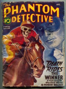 Phantom Detective Pulp August 1946- Death Rides a Winner- Skeleton cover