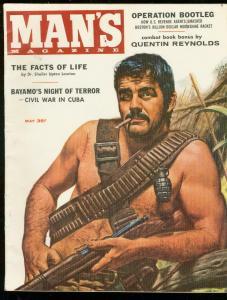 MAN'S MAGAZINE MAY 1958-CUBA CIVIL WAR-GREAT COVER-WW 2 VF