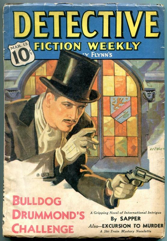 Detective Fiction Weekly Pulp March 13 1937- Bulldog Drummond VG