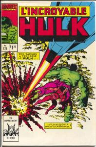 L'Incroyable Hulk #178 1986-Marvel-Thor-French Canadian edition-FN