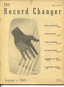 Record Changer 8/1945-jazz & music info for collectors & fans-buy/sell ads-VG
