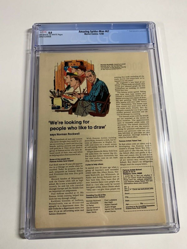 Amazing Spider-Man #67 CGC graded 8.0
