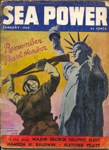 Sea Power 1/1942-McClelland Barclay Remember Pearl Harbor cover-FDR-war pix-i...