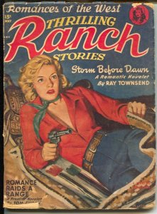 Thrilling Ranch Stories 5/1950-spicy cowgirl cover-Ray Townsend-Storm Before Daw