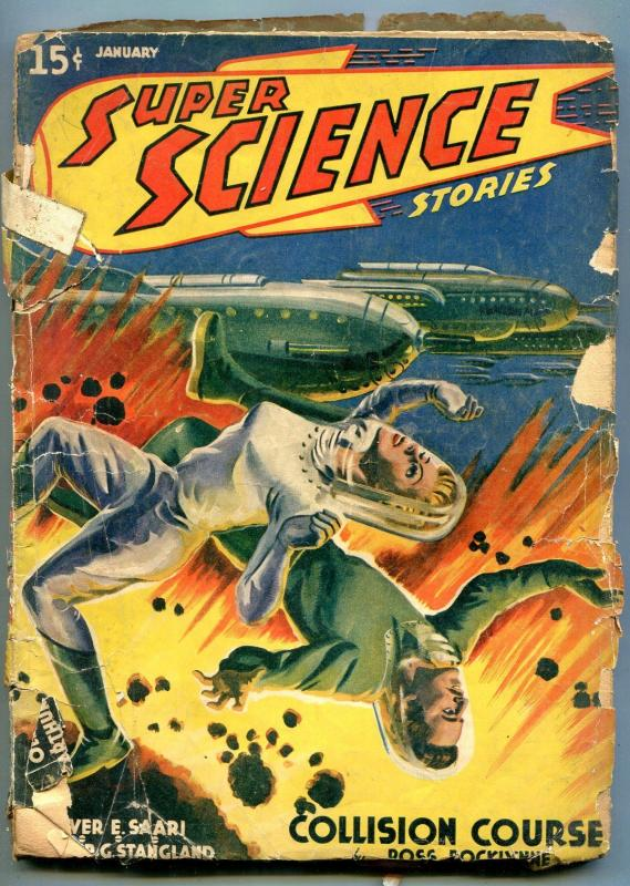 Super Science Stories Pulp January 1941- Wild explosion cover POOR