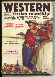Western Fiction Monthly 8/1935-Red Circle-Hopalong Cassidy-hero pulp-Mulford-VG