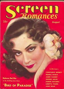 Screen Romances-Dolores Del Rio-James Cagney-Loretta Young-Aug-1932
