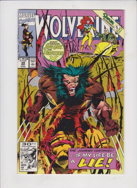 WOLVERINE  V1 #49  1991  STARRING JEAN GREY and PROFESSOR X