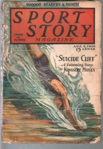 Sport Story 8/8/1926-F A Carter cover-cliff diving-track-pulp stories-VG-