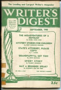 Writer's Digest 9/1940-writing sports stories-pulp info & history-Rangeland Roma