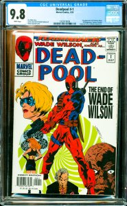 Deadpool #-1 CGC Graded 9.8 1st appearance of Overboss Dixon & Montgomery, Va...