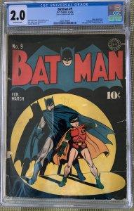 Batman #9 (1942) CGC 2.0 -- Joker app; Classic cover; 1st Christmas story