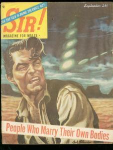SIR! MAGAZINE SEPT 1954-WILD UFO COVER-KING FAROUK-PULP VG