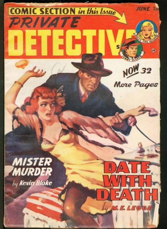 PRIVATE DETECTIVE 1949 JUN-PULP-SOTI CRIME COMIC INSERT VG