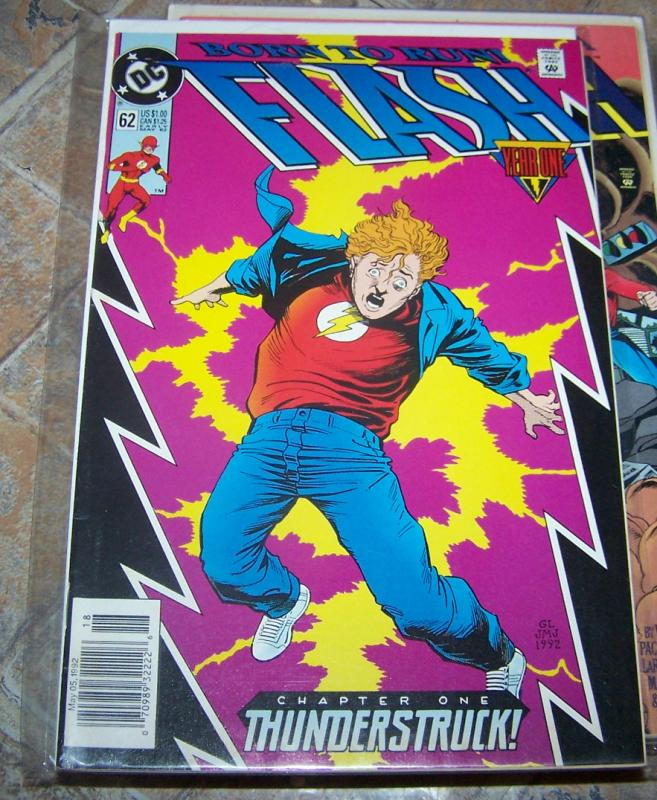 FLASH # 62 may  1992 dc comics  cw tv show  WALLY WEST thunderstruck YEAR ONE