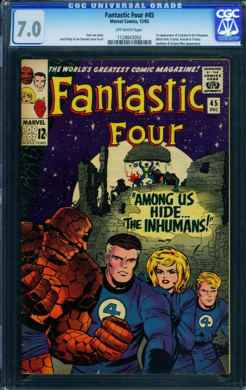 Fantastic Four #45  CGC 7.0-comic book First Inhumans- 1128843002