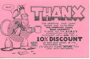 American Comic Book Co. Scott Shaw Thanx Postcard