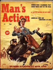 MAN'S ACTION-SEPT-1957-Wild baboons tear shirt off woman-Cheesecake-dope