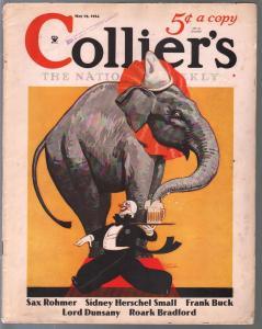 Collier's 5/19/1934- Louis Fancher-Sax Rohmer-Fu Manchu-elephant cover-VG