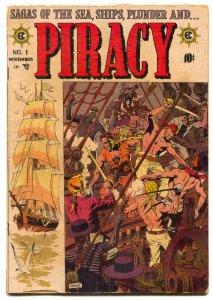 PIRACY COMICS #1 E C  CRANDALL WILLIUAMSON WOOD 1954 G/VG