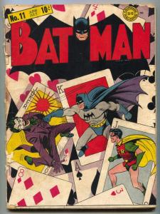 Batman #11 1942-DC Comics classic JOKER cover- Golden Age G-