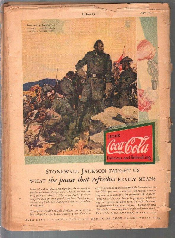 Liberty 8/21/1921-zeppelin pulp story-Dr Seuss-Agatha Christie-Flagg art-P/FR