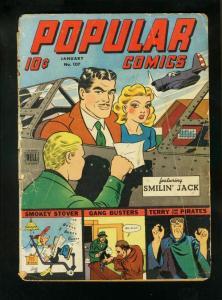 POPULAR COMICS #107 1945-SMILIN JACK-MILTON CANIFF-TERRY & PIRATES-fair FR
