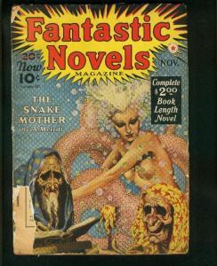 FANTASTIC NOVELS #3-NOV 1940-VIRGIL FINLAY ART-SNAKE MOTHER-MERRIT-PULP-  good G
