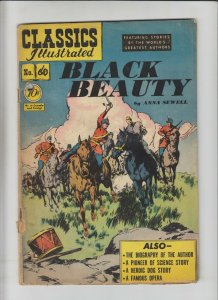 Classics Illustrated #60 - Black Beauty by Anna Sewell - HRN 62 low grade comic