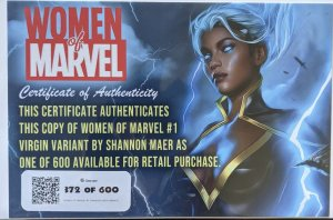 WOMEN OF MARVEL #1 - SHANNON MAER VARIANT SET. EXCLUSIVE LIMITED MINT!
