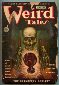 Weird Tales January 1946- Skull cover- Cranberry Goblet FAIR